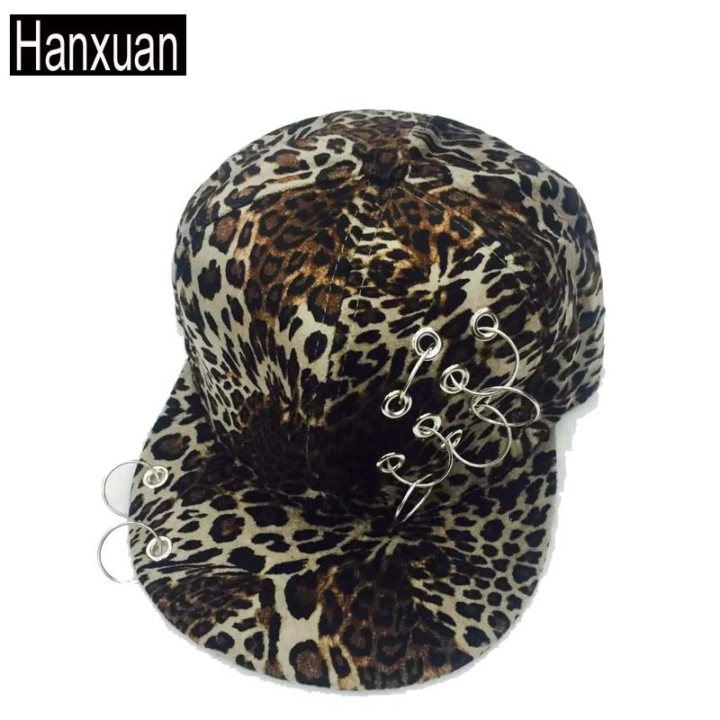Fashion Women Leopard Rings Baseball Caps Spring Female Hiphop Flated Brim Snapback Caps and hats Ring Lady Gorros Hats Kenka