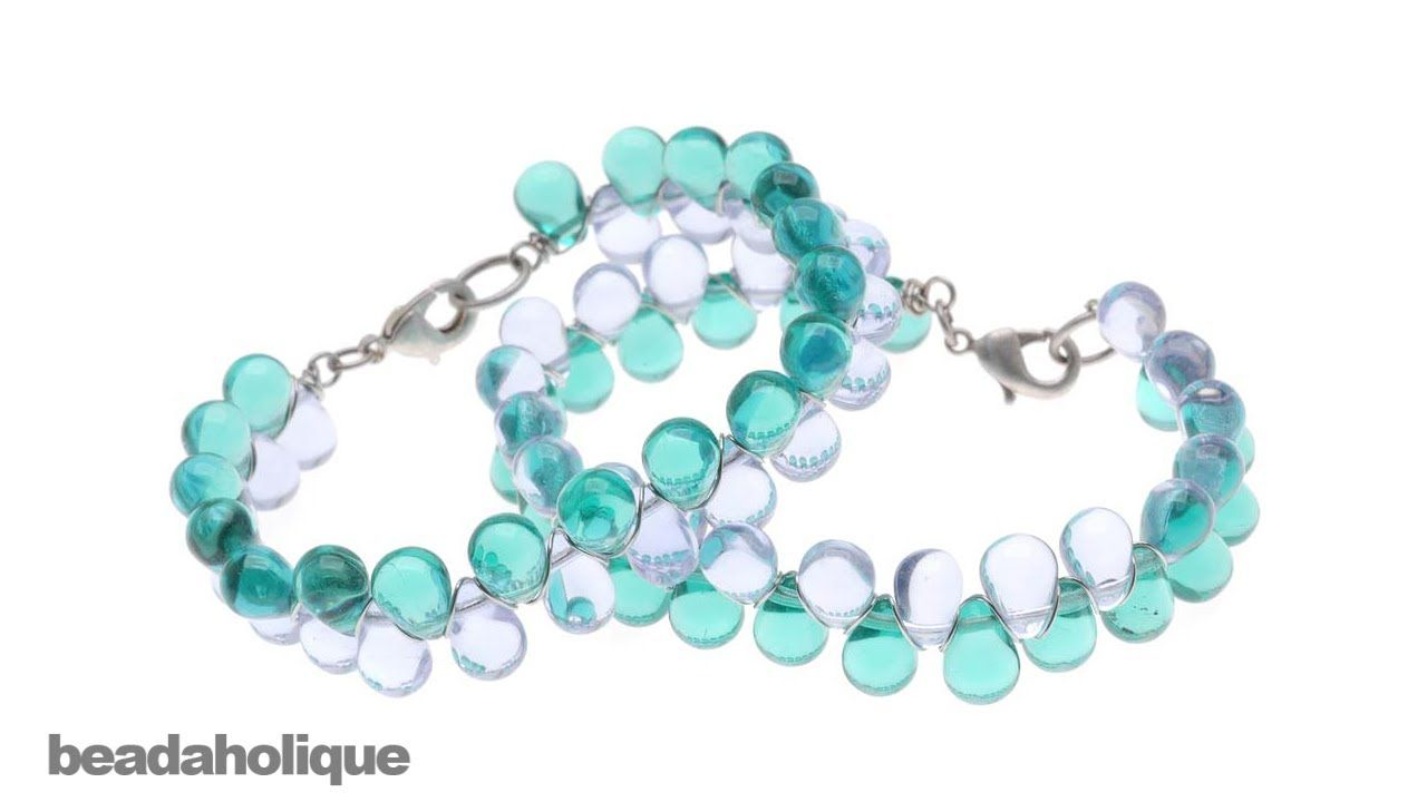 How to Make a Wire Wrapped Glass Drop Bead Bracelet | ΧΕΙΡΟΠΟΙΗΤΑ ...