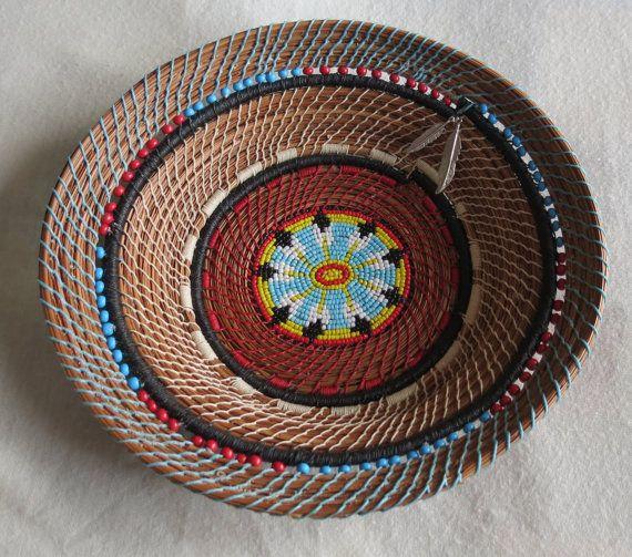 Beautiful pine needle art basket Flowerburst by TwistedandCoiled