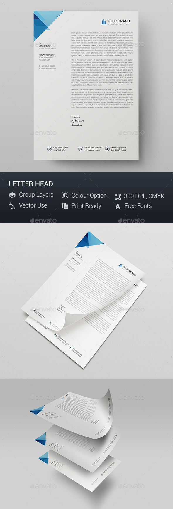 Corporate Letter Head  Letterhead Template Stationery Printing