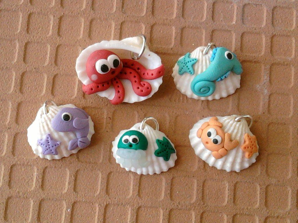 Fimo Bambini ~ Ciondoli conchiglie con animaletti marini fimo fimo clay and shell