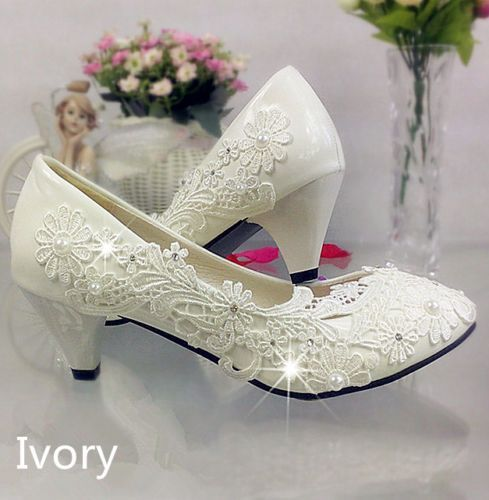 4f0c3c42b8536 Lace-white-ivory-crystal-Wedding-shoes-Bridal-flats-low-high-heel -pump-size-5-12