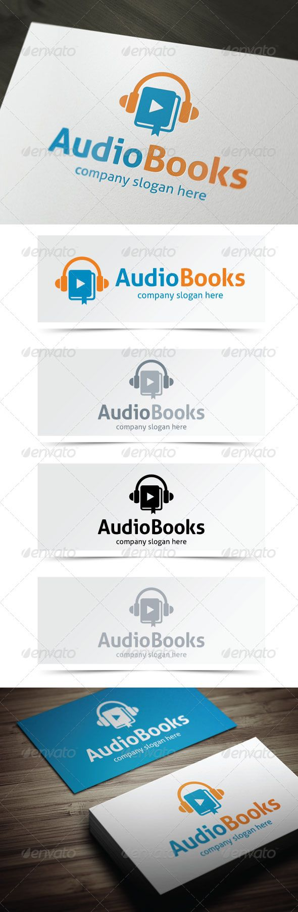 Audio Books - Logo Design Template Vector #logotype Download it here: http://graphicriver.net/item/audio-books/5171775?s_rank=316?ref=nexion