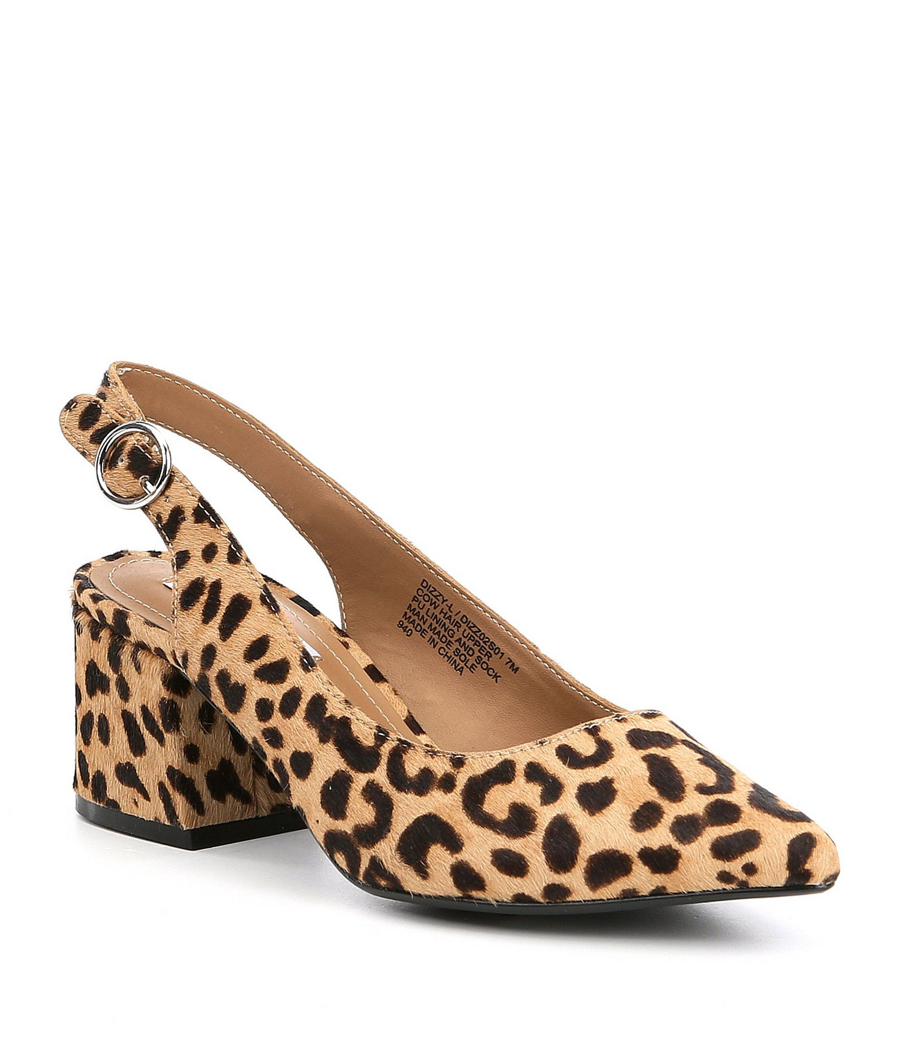 7086c2b5412 Steve Madden Dizzy Leopard Print Calf Hair Slingback Block Heel ...
