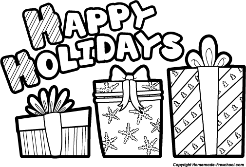 Happy Holidays Clip Art Black And White Happy Holidays Clip Art Free Holiday Clipart Holiday Clipart