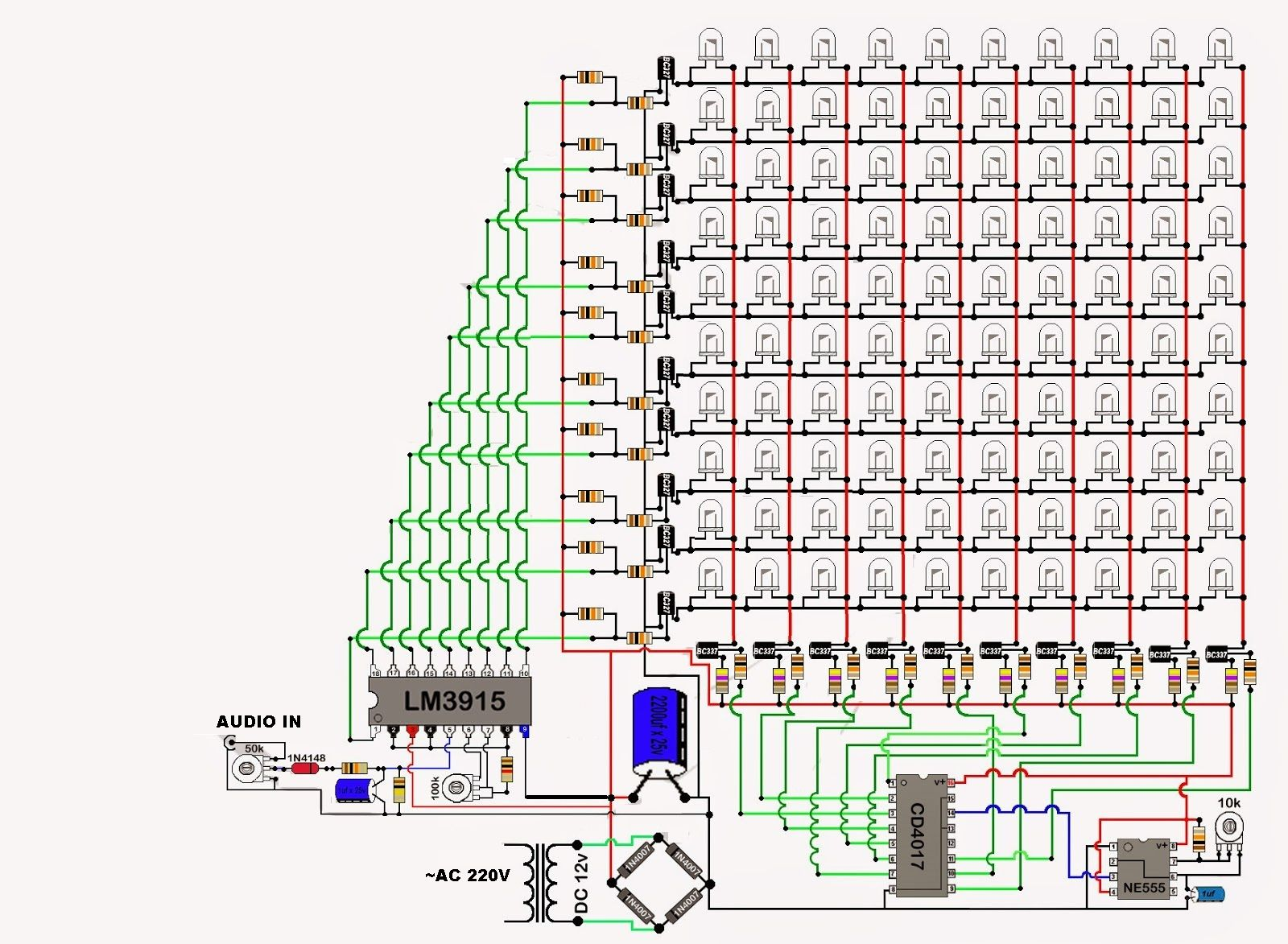 Audio Spectrum Analyzer Circuit Diagram Redarc Sbi12 Wiring 3915 4017 Pinterest Diy Electronics Arduino And Projects Luz Led Electrical Engineering