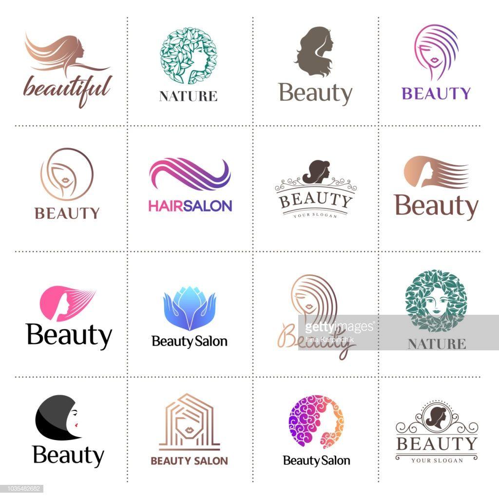 Feminine Logo Set In Gold Rose: Big Vector Icon Set For Beauty Salon, Hair Salon, Cosmetic