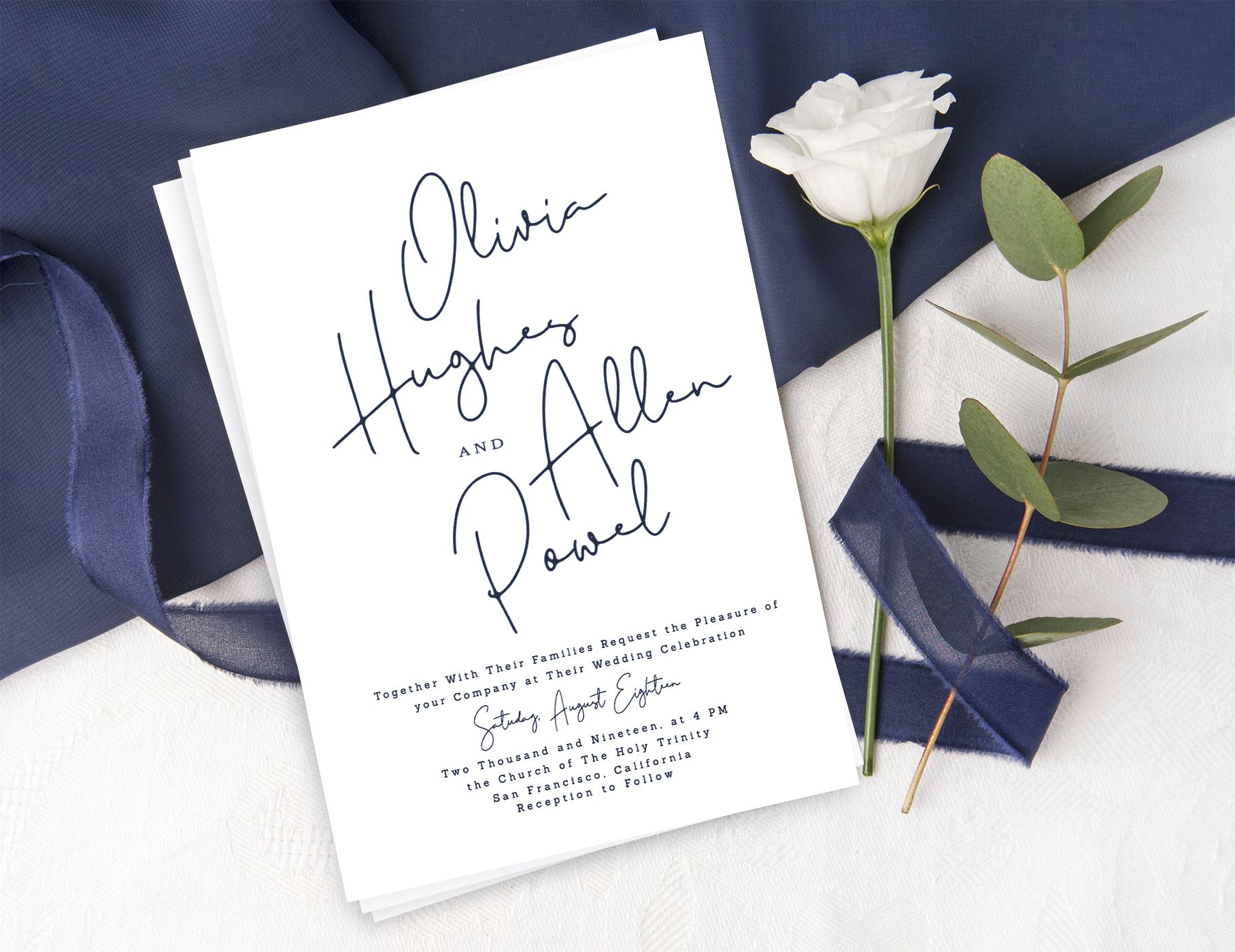 Minimalist bohemian wedding invitation suite, Modern