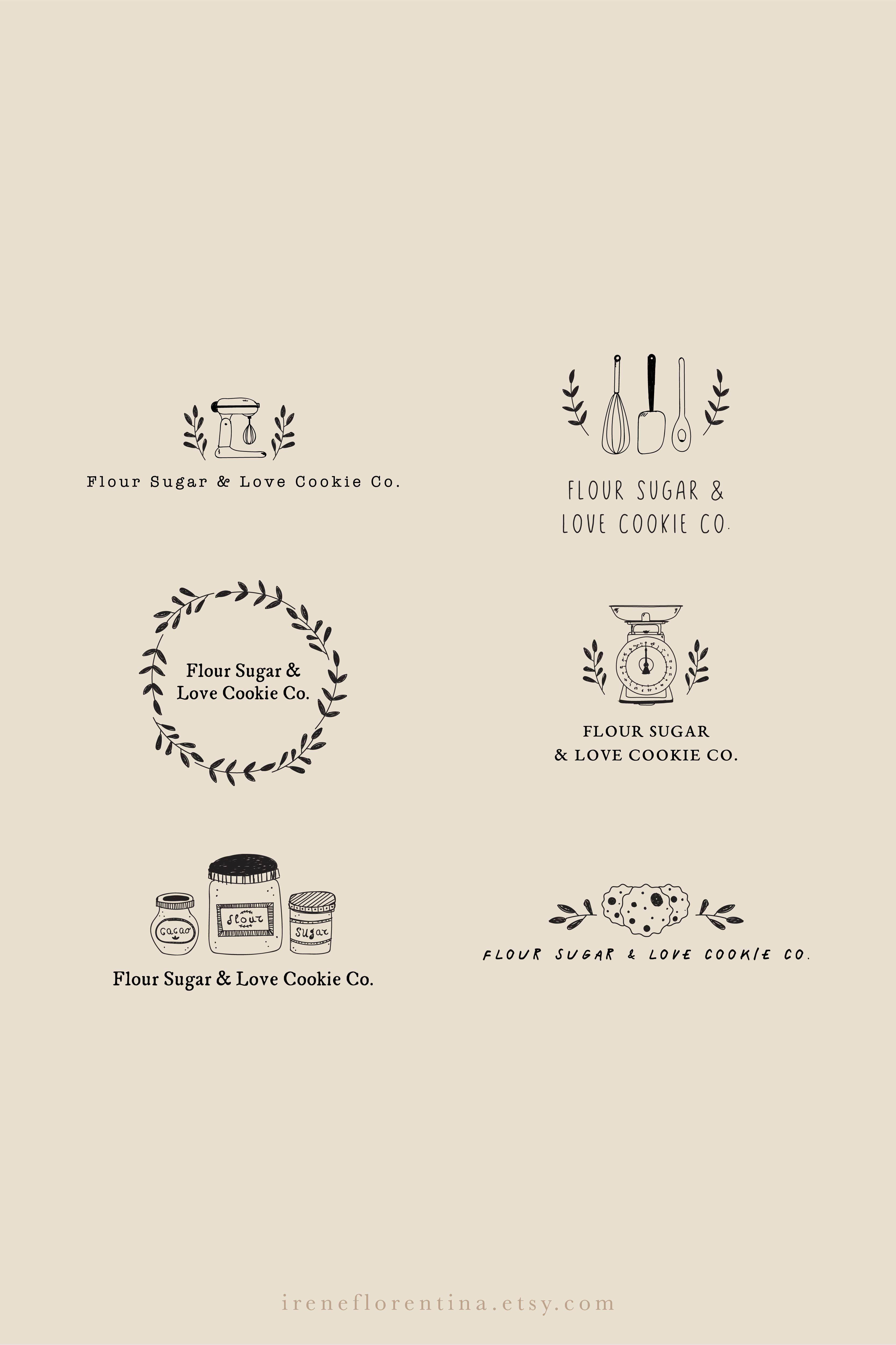 Hand Drawn Rustic Organic Logo Design Custom Branding For