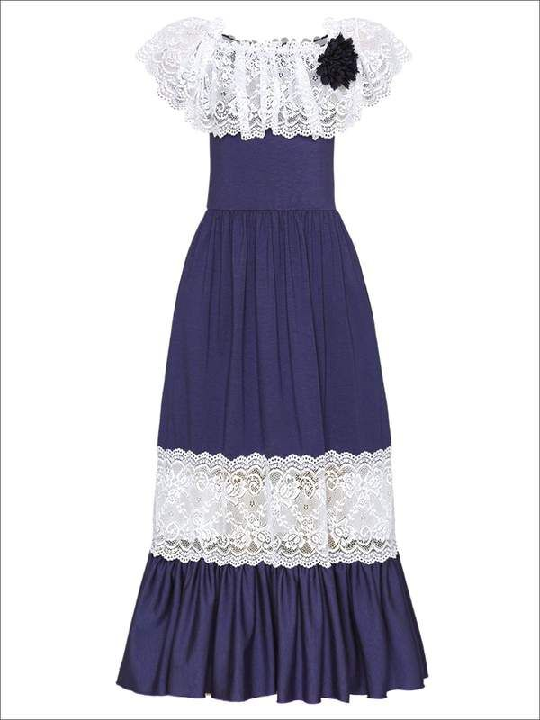 c4842fef2a2 Girls Off The Shoulder Lace Ruffle   Insert Maxi Dress With Flower Clip (3  Color
