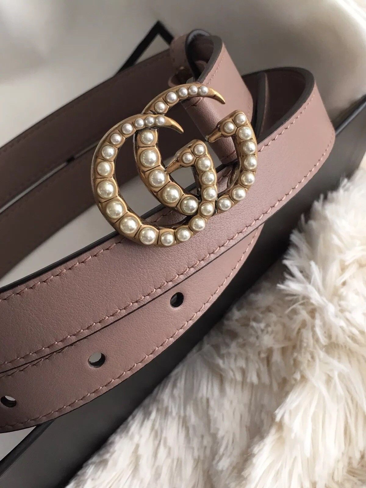 0177612387a NIB Gucci GG Pearl Marmont Light Pink Rose GG Belt Leather Size 85 80 SOLD  OUT