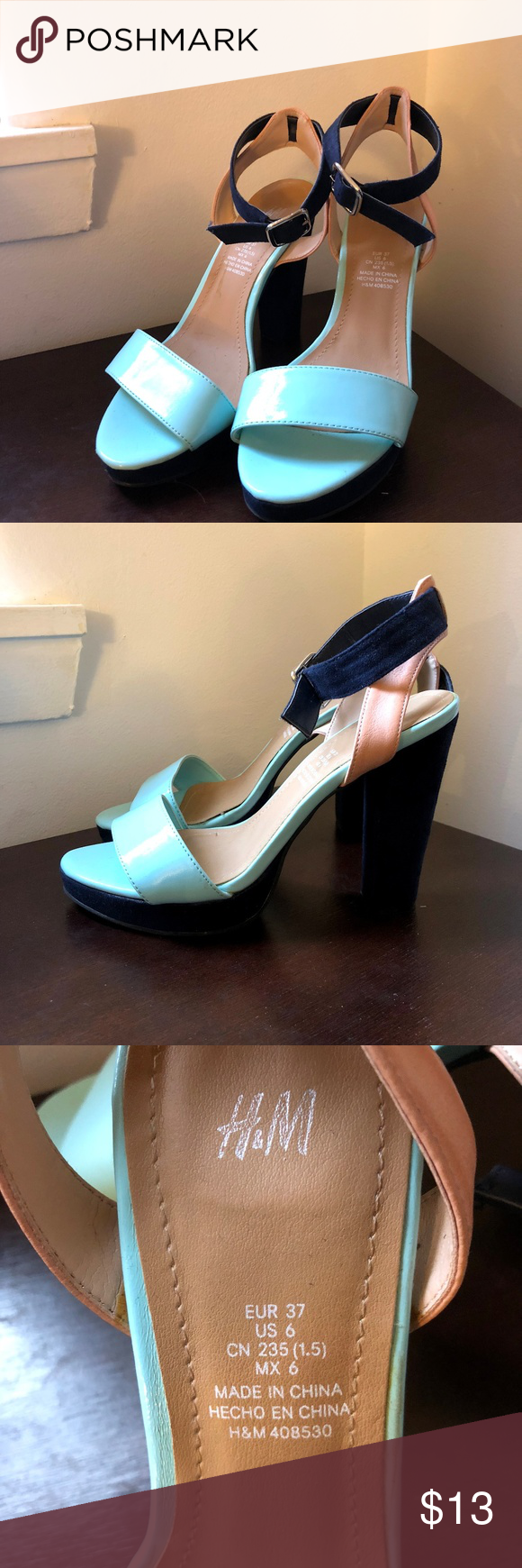 Mint And Navy Blue Heels Cute Colorful Heels H M Shoes Heels Navy Blue Heels Heels Colorful Heels