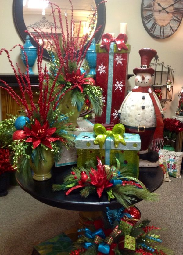 christmas turquoise red with lime green table decor at something special home accessories and gifts