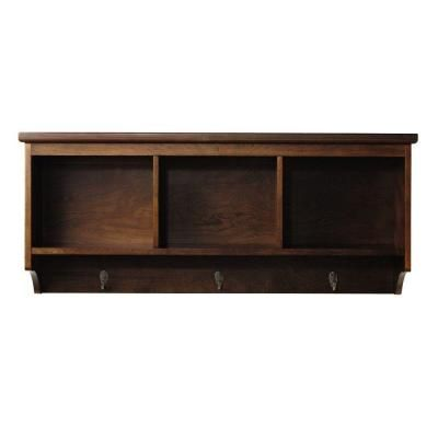 Wall Shelf with Hooks   ... 38 in. L Espresso Wall Shelf with 3-Hooks-1158110960 at The Home Depot