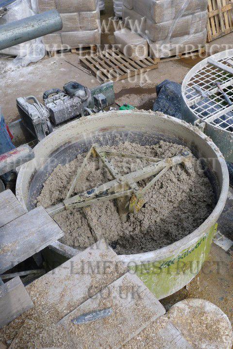 Hemprete mixing in a hempcrete mixer