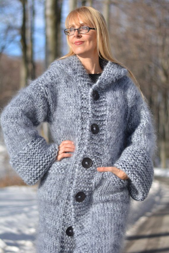 KNITTING PATTERN Ladies Easy Knit Long Jacket with Collar SuperChunky 5581 Wendy