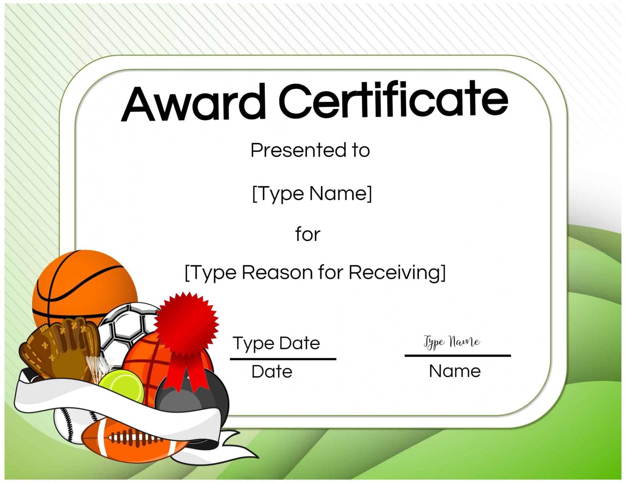 Printable Athletic Certificate Template Sample In 2021 Funny Awards Certificates Awards Certificates Template Funny Certificates Player of the game certificate