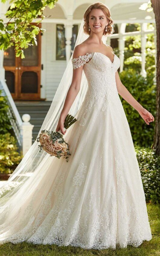 A line wedding gown, Ballgown wedding dress, off the shoulder ...