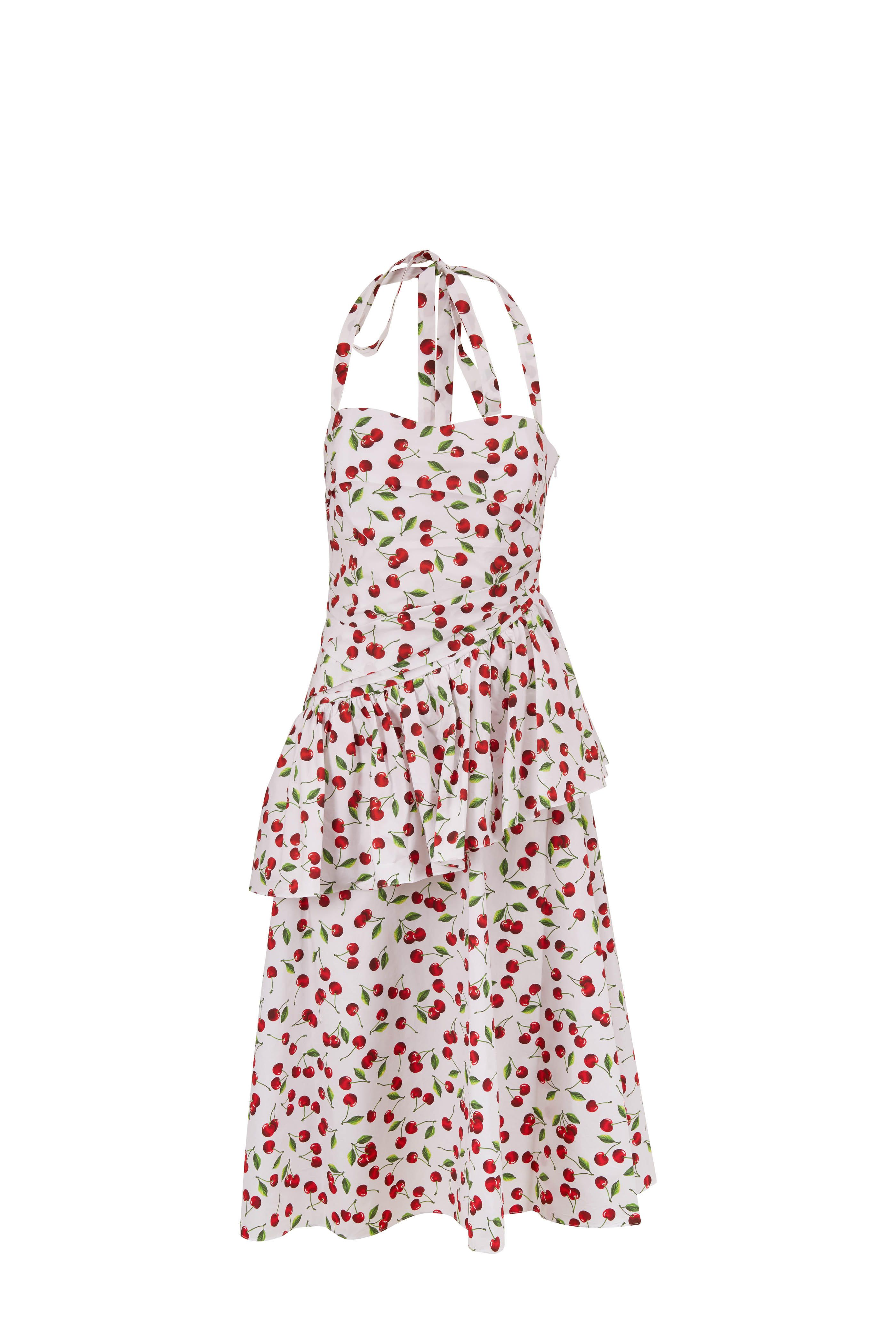 Michael Kors Collection Optic White Cherry Poplin Peplum Halter Dress Michael Kors Collection Halter Dress Dresses [ 4200 x 2800 Pixel ]