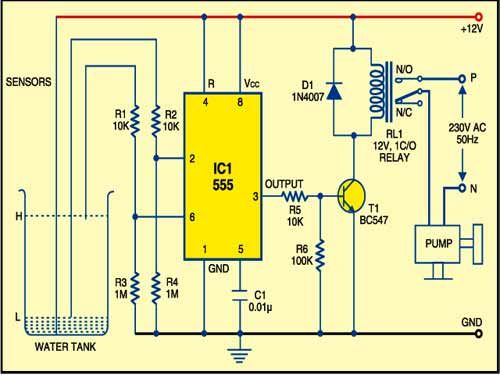 555timer based water level controller free electronics circuits rh pinterest com