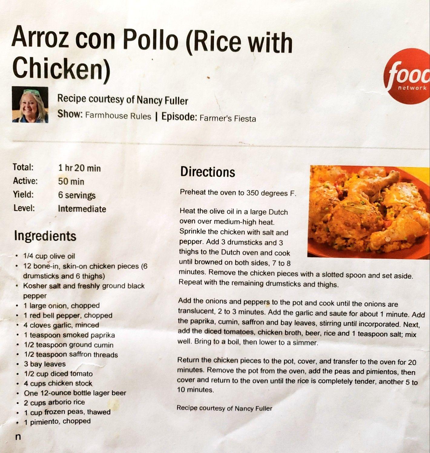 Arrow con pollo Food network recipes, Recipes, Arroz con