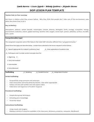 Siop unit lesson plan template sei model jitha Pinterest - siop lesson plan templat