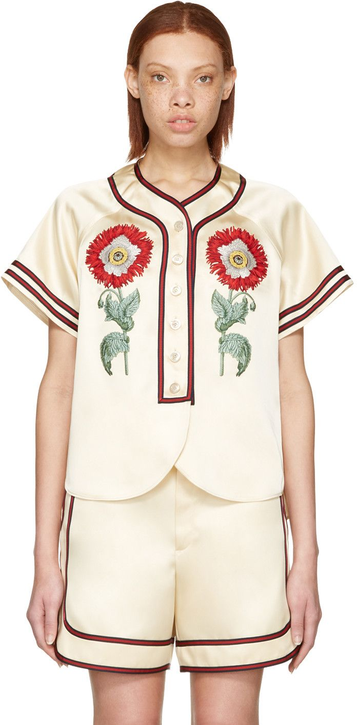 dafdab3d7f4 Gucci - Beige  Loved  Embroidered Duchesse Shirt
