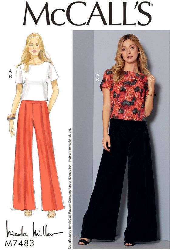 Wide Leg Pants Pattern Top and Pants Pattern McCall\'s by blue510 ...