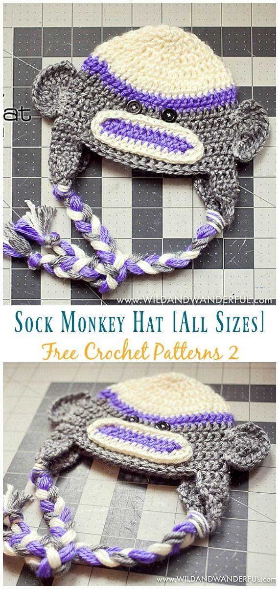 Sock Monkey Hat Free Crochet Patterns #sockmoneky