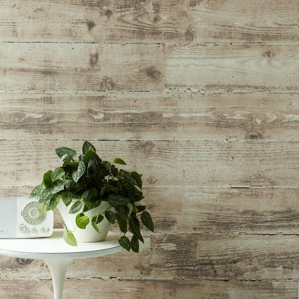 Sepulveda Shiplap Mural Removable Wallpaper Taupe