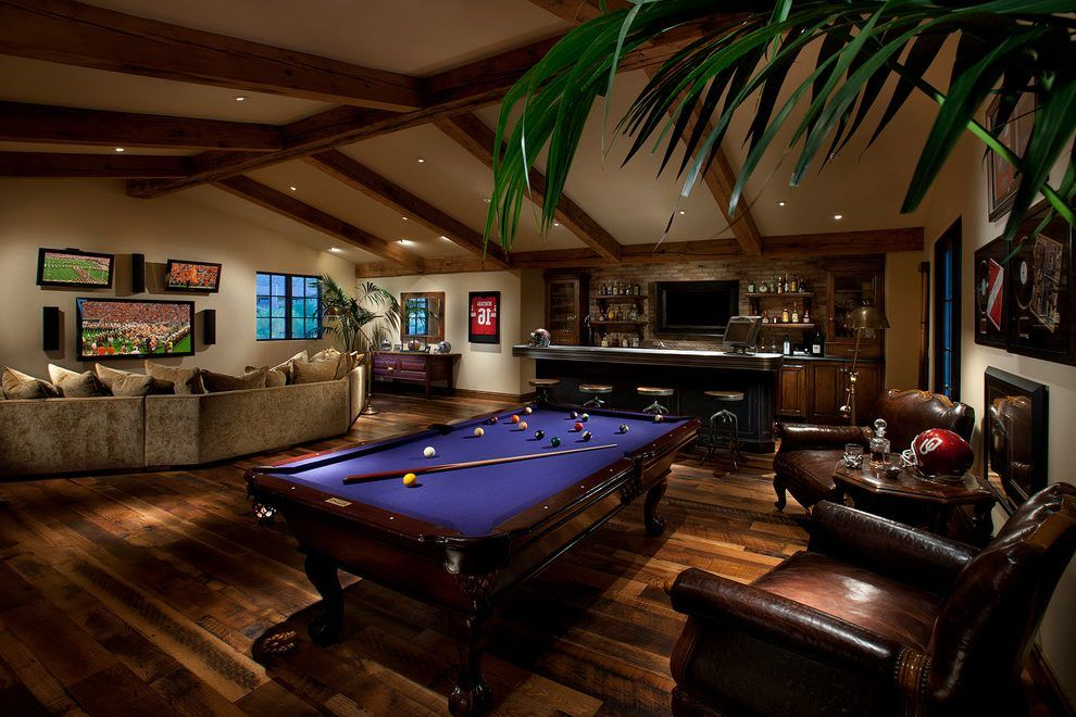 Game room with bar designs family room mediterranean with pool table ...