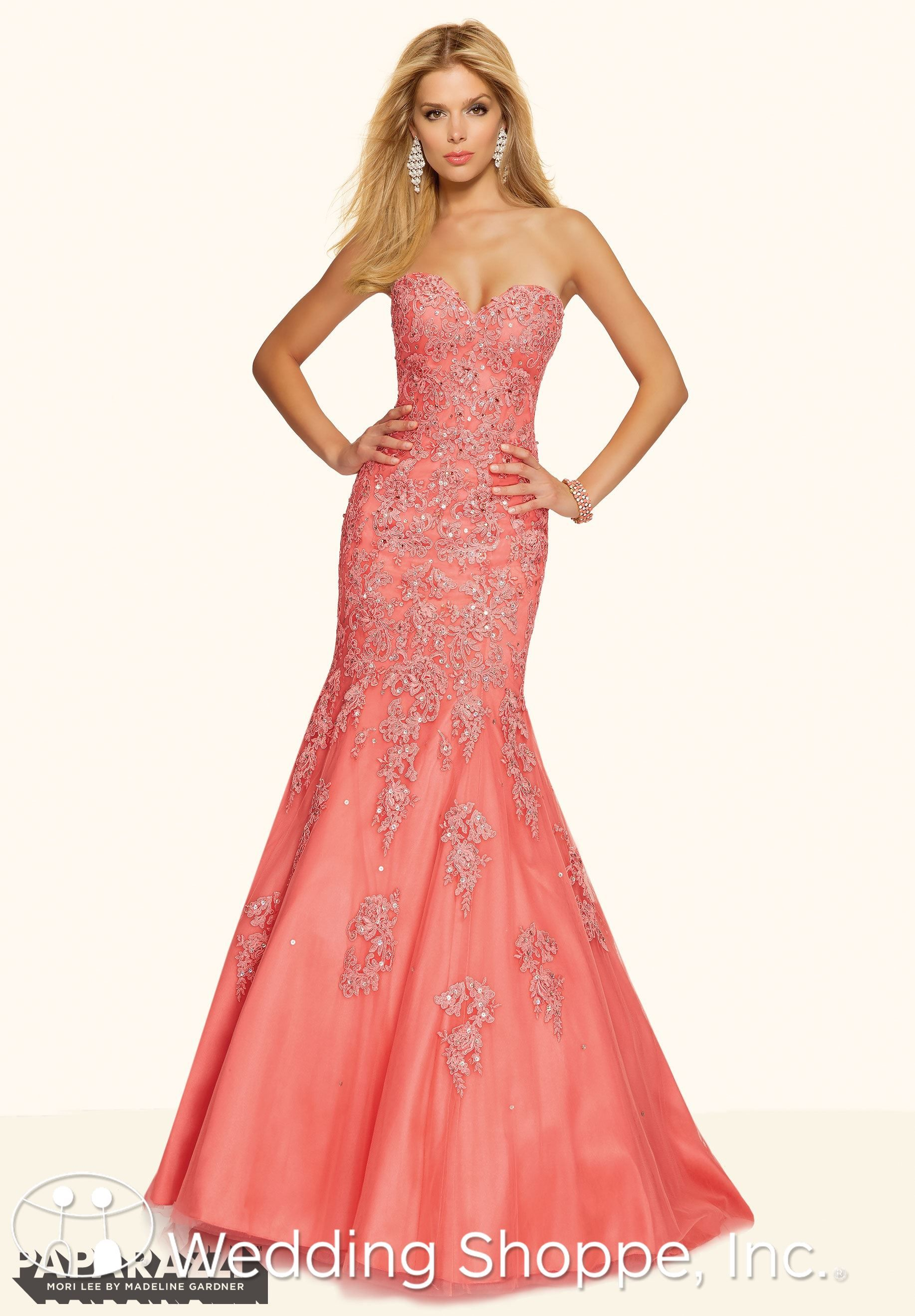 Paparazzi by Mori Lee Prom Dress 98002 | Pinterest | Coral lace ...
