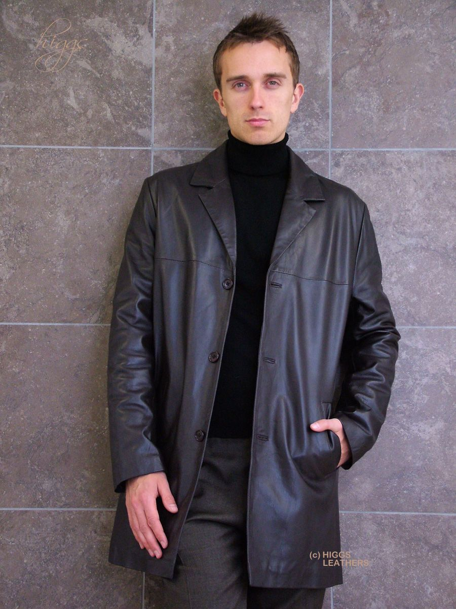 Higgs Leathers Silas (dark brown long leather jackets for men ...