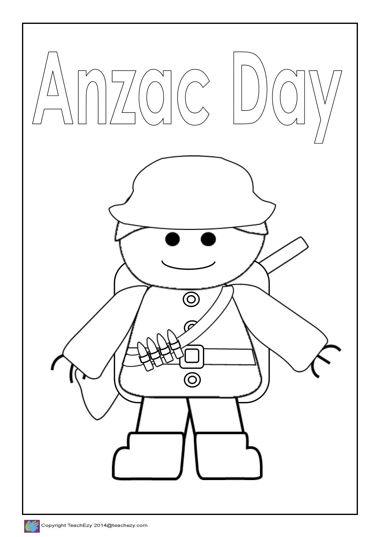 Anzac Day Colouring Printables Anzac Day Anzac Soldiers Veterans Day Coloring Page [ 1754 x 1240 Pixel ]