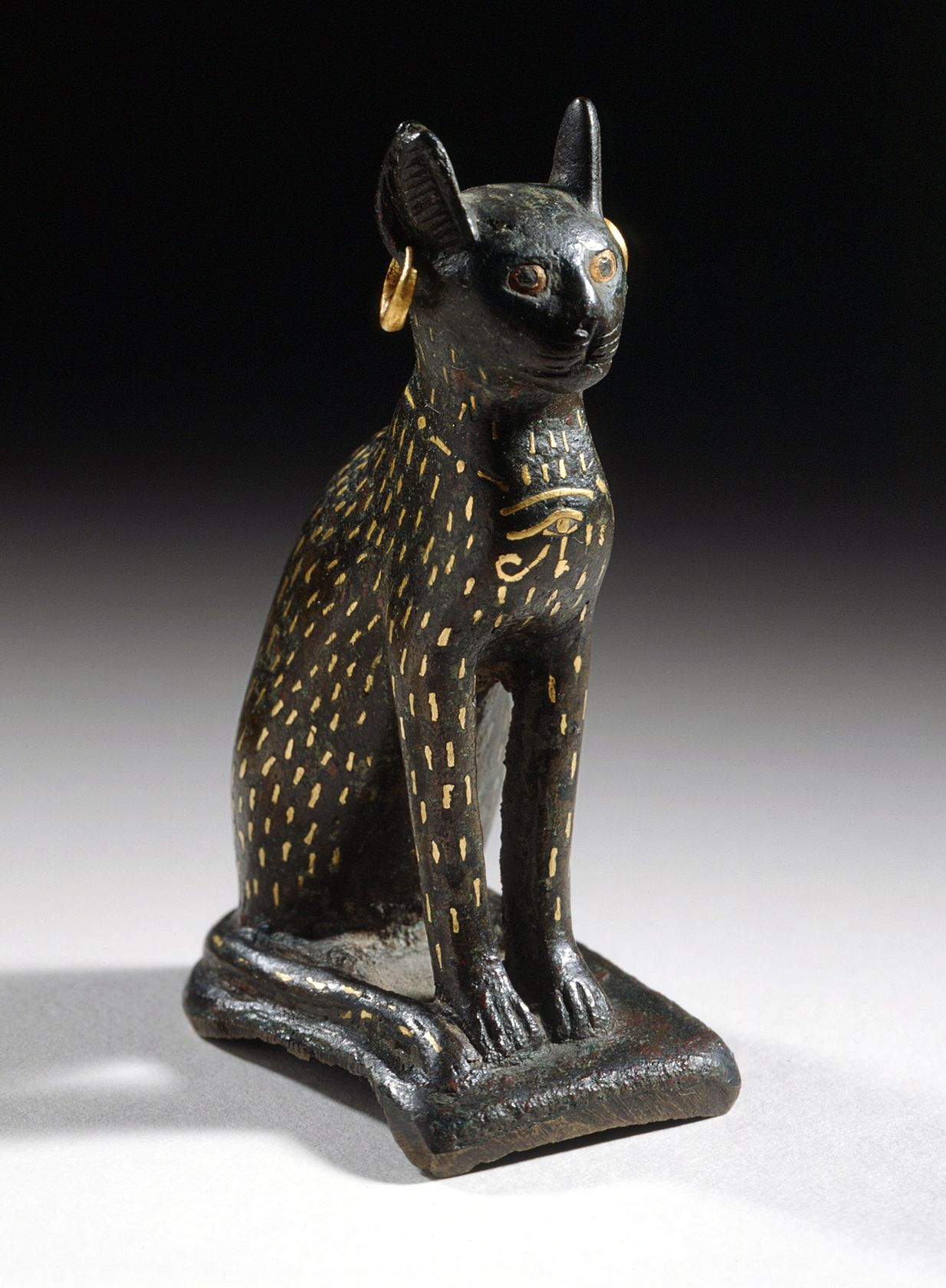 Figurine of the Goddess Bastet as a Cat, Egypt, 21st - 26th Dynasty (1081 - 525 B.C.) - Bronze, inlaid gold