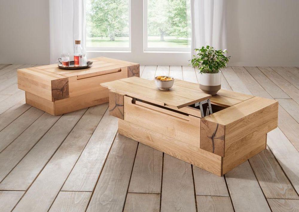 Couchtisch Kernbuche Massiv, Modell Roma Mit Platte Höhenverstellbar.  Massivholz ...