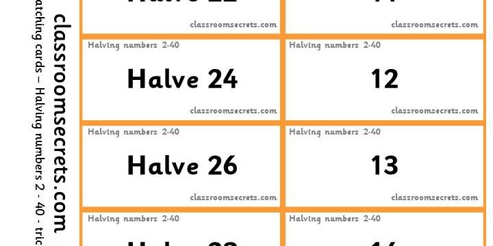 Matching cards and worksheets to halve numbers 2-40. | teaching ...