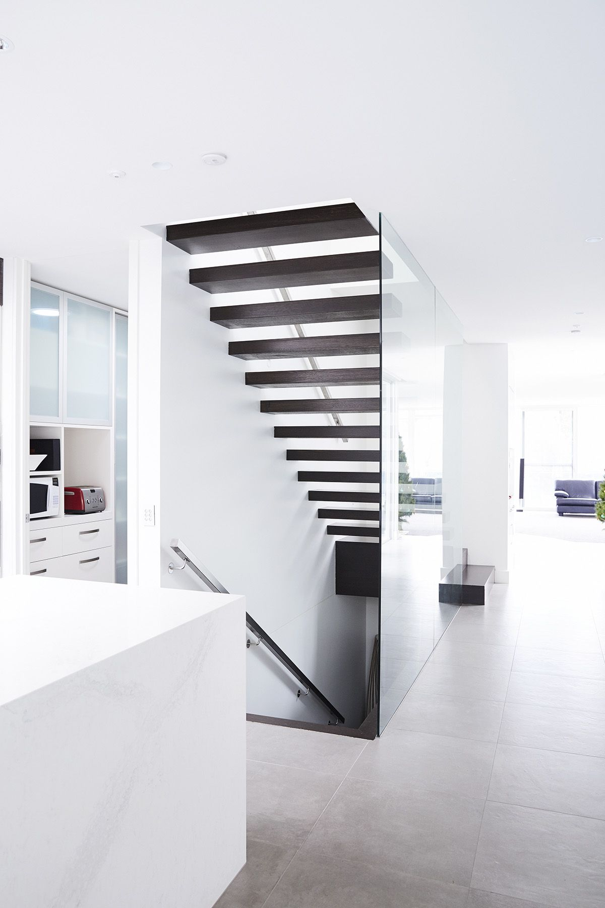 Cantilevered | Stairs | Floating Staircase | Victorian Ash | Timber |  Handrail | Stainless Steel