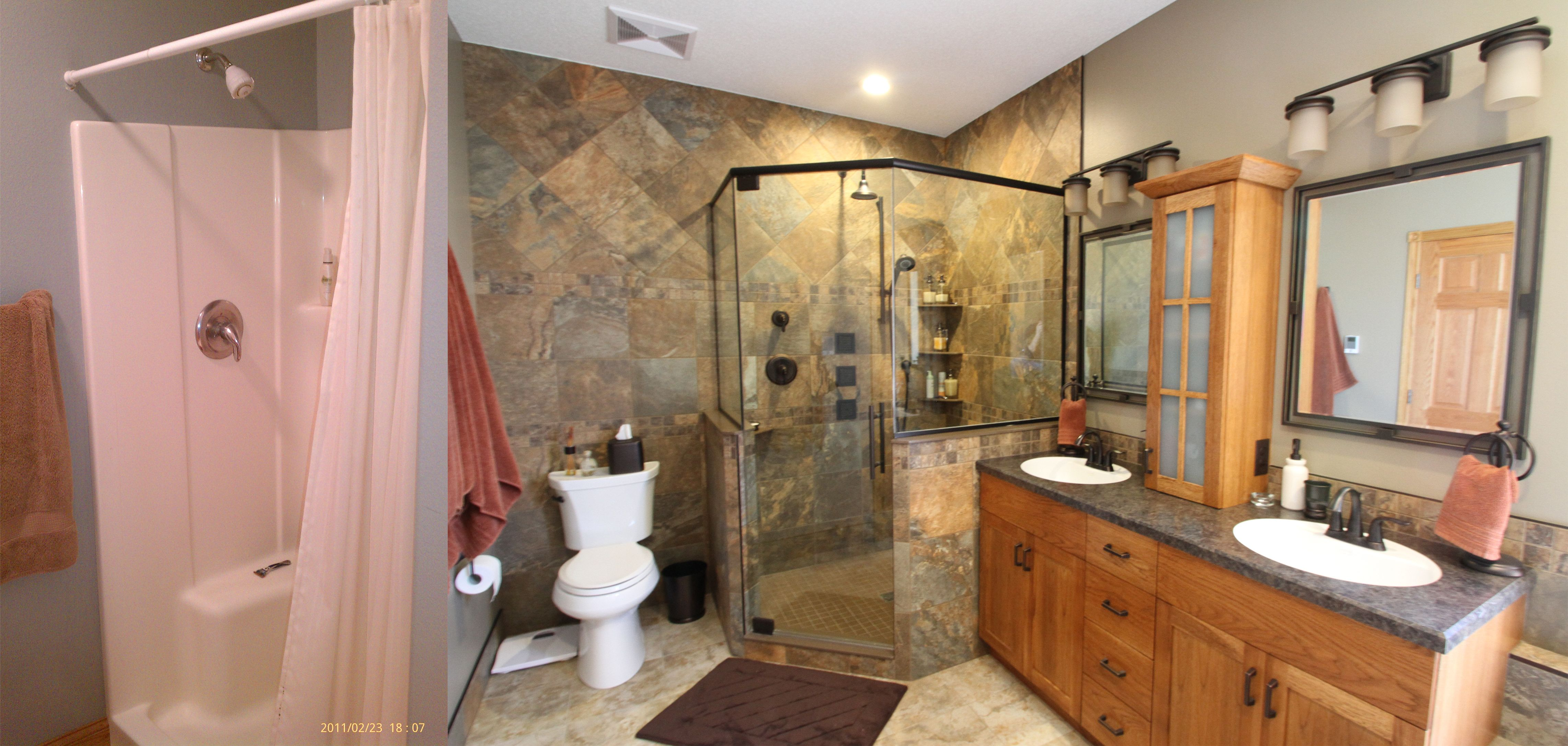 Left: Before ... and Right: AFTER! Amazing bathroom transformation. Anything is possible.  Delta Design & Construction, Inc.  www.deltadesign.biz  701-235-1212