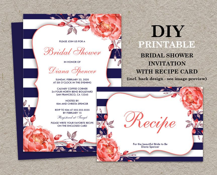 Blue And Coral Wedding Invitations: Navy And Coral Bridal Shower Invitation With Recipe Card