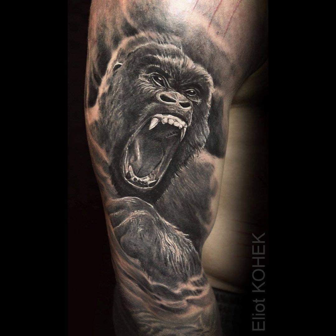 gorilla realistic tattoo silverbackink killerink hustlebutterdeluxe pinterest. Black Bedroom Furniture Sets. Home Design Ideas