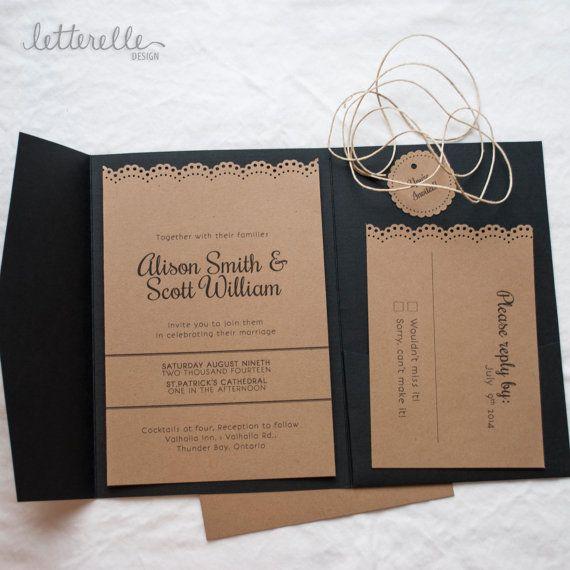 Black & Kraft Lace Cut Wedding Invitation, 5X7 with Pocket | Taschen ...