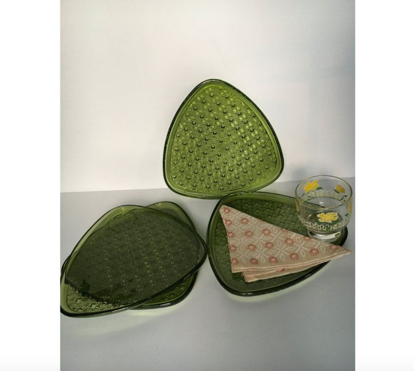 SALE! Vintage Green Indiana Glass Daisy and Button Snack trays, 4 ...