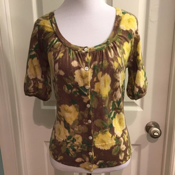 Ann Taylor LOFT wool floral cardigan small 100% wool. Soft. All over floral design. Cropped puffy sleeves. Gently used. LOFT Sweaters Cardigans