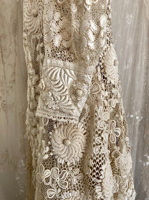 Exquisite Antique Irish Lace Wedding Coat / Museum / Crochet Lace / Bridal / Antique Dress /Ivory / Size Sm / Med #irishlacecrochet