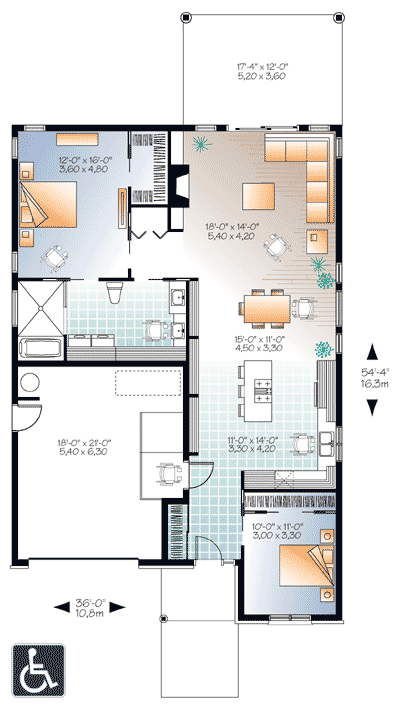Plan 22382dr Accessible Barrier Free House Plan Free House Plans Wheelchair House Plans Accessible House Plans
