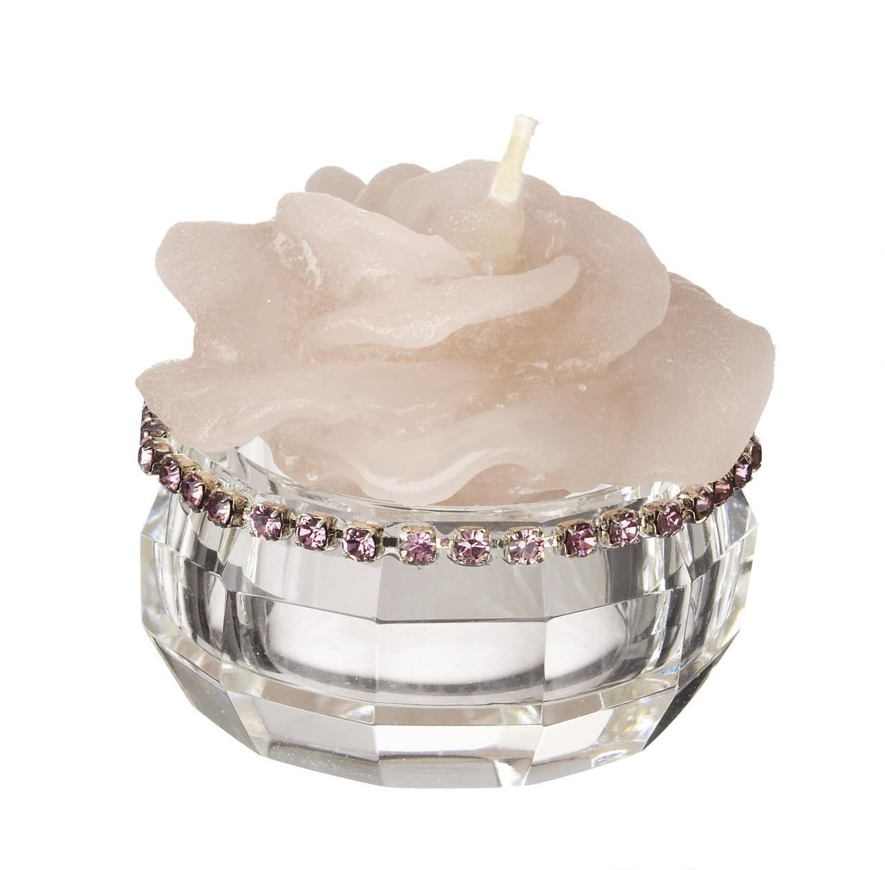 Italian Crystal Tealight Candle Holder with Pink Rhinestones