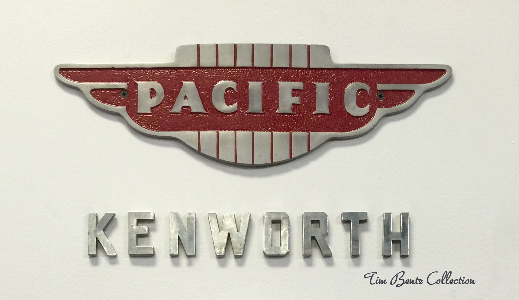 Kenworth-Pacific emblems, (nameplate, badge) from the 1950s. The ...