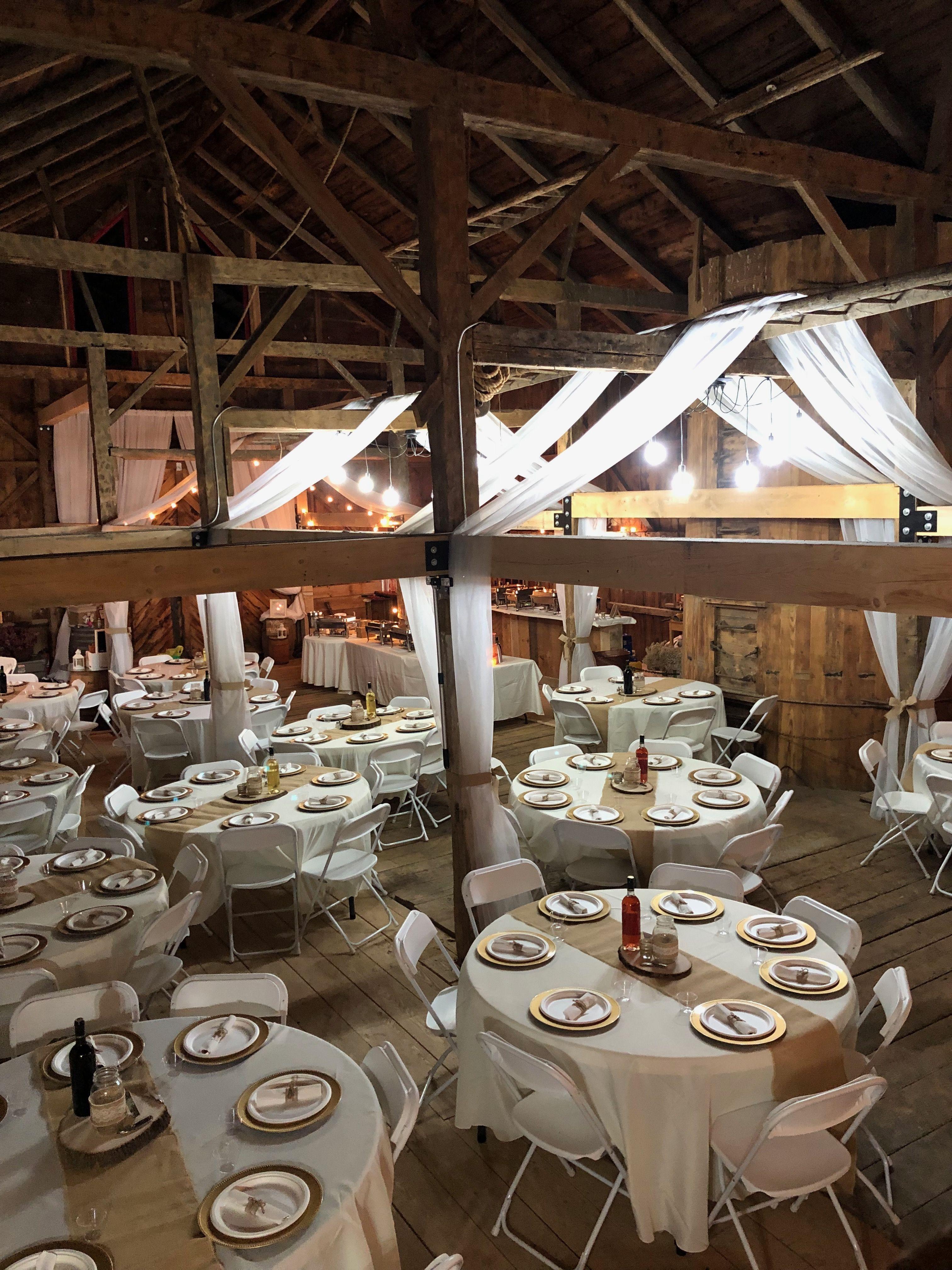 Barn wedding reception, white and burlap linens white ...