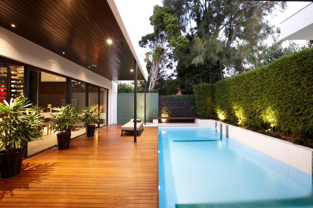 Contemporary Lap Swimming Pool Designs With Wooden Deck For Small Backyard